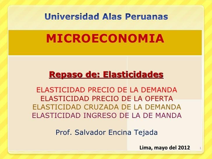 MICROECONOMIA   Repaso de: Elasticidades ELASTICIDAD PRECIO DE LA DEMANDA  ELASTICIDAD PRECIO DE LA OFERTAELASTICIDAD CRUZ...