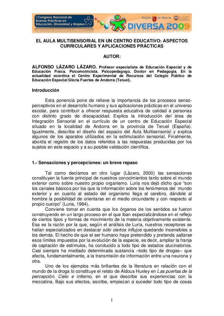 EL AULA MULTISENSORIAL EN UN CENTRO EDUCATIVO: ASPECTOS           CURRICULARES Y APLICACIONES PRÁCTICAS                   ...