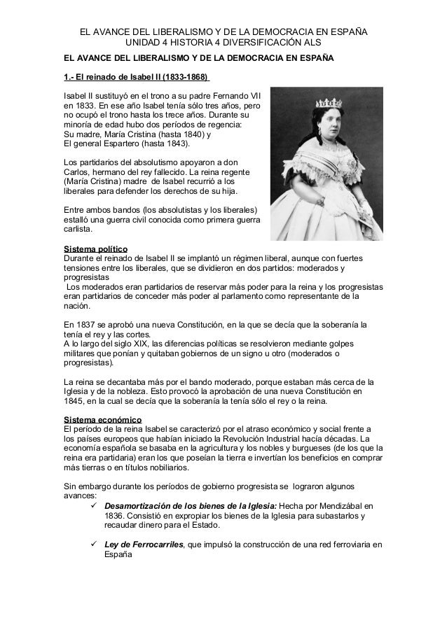 EL AVANCE DEL LIBERALISMO Y DE LA DEMOCRACIA EN ESPAÑA UNIDAD 4 HISTORIA 4 DIVERSIFICACIÓN ALS EL AVANCE DEL LIBERALISMO Y...