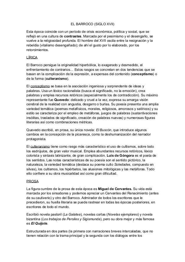 EL BARROCO (SIGLO XVII) Esta época coincide con un período de crisis económica, política y social, que se reflejó en una c...
