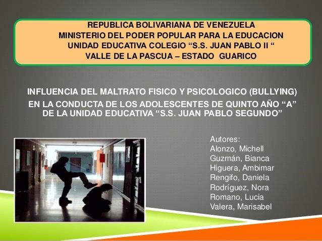 "REPUBLICA BOLIVARIANA DE VENEZUELA MINISTERIO DEL PODER POPULAR PARA LA EDUCACION UNIDAD EDUCATIVA COLEGIO ""S.S. JUAN PABL..."