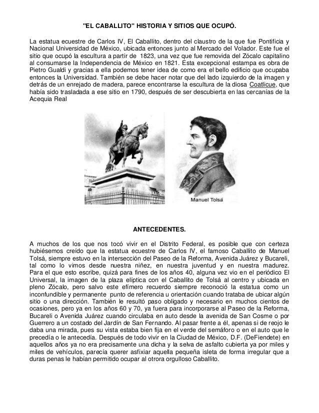 """""""EL CABALLITO"""" HISTORIA Y SITIOS QUE OCUPÓ. La estatua ecuestre de Carlos IV, El Caballito, dentro del claustro de la que ..."""