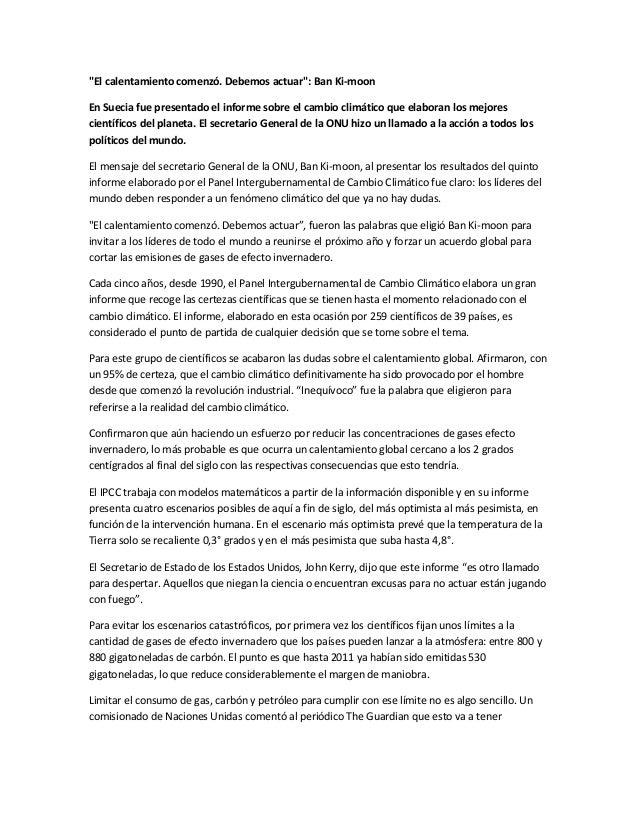 """""""El calentamiento comenzó. Debemos actuar"""": Ban Ki-moon En Suecia fue presentado el informe sobre el cambio climático que ..."""