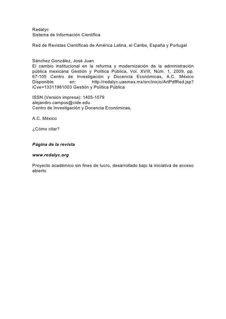 RedalycSistema de Información CientíficaRed de Revistas Científicas de América Latina, el Caribe, España y PortugalSánchez...