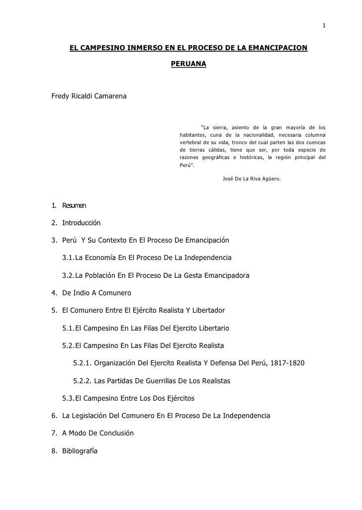 1        EL CAMPESINO INMERSO EN EL PROCESO DE LA EMANCIPACION                                        PERUANA    Fredy Ric...