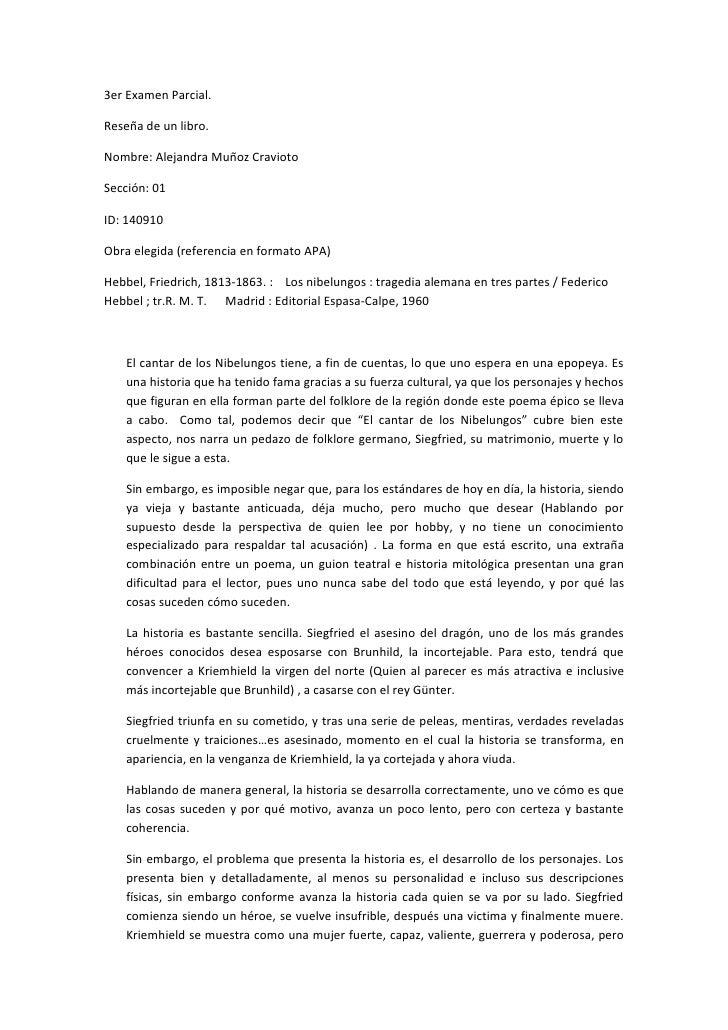3er Examen Parcial.  Reseña de un libro.  Nombre: Alejandra Muñoz Cravioto  Sección: 01  ID: 140910  Obra elegida (referen...