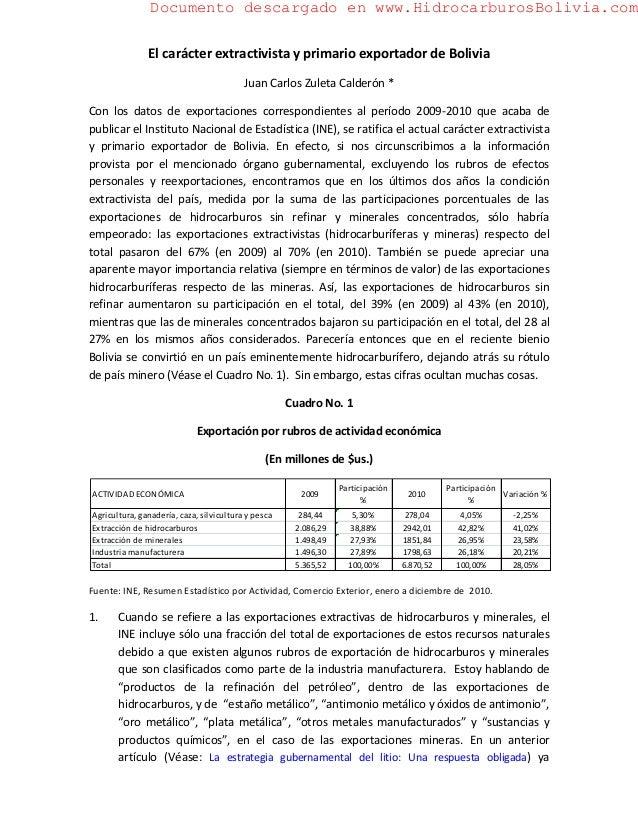 Documento descargado en www.HidrocarburosBolivia.com               El carácter extractivista y primario exportador de Boli...