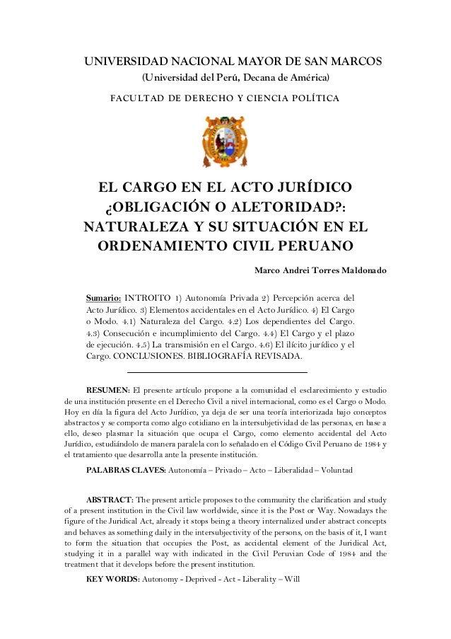 UNIVERSIDAD NACIONAL MAYOR DE SAN MARCOS (Universidad del Perú, Decana de América) FACULTAD DE DERECHO Y CIENCIA POLÍTICA ...