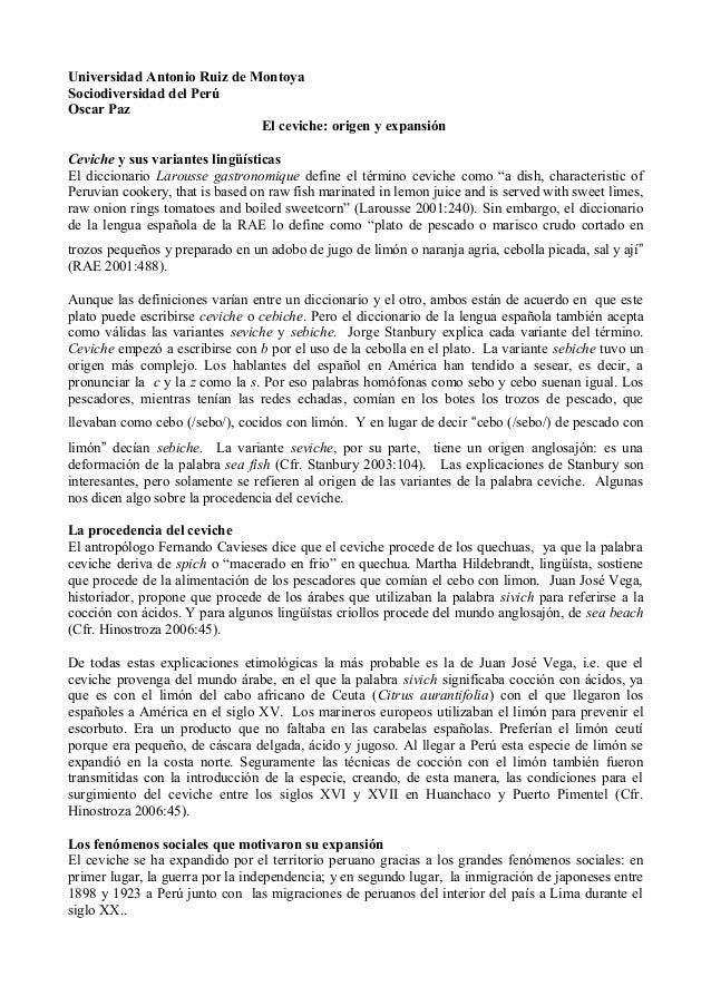 El ceviche, origen y expansión. Paz, Oscar. 2011-11-02