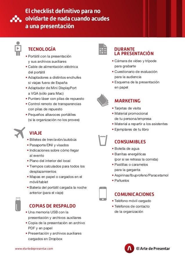 El checklist definitivo para no olvidarte de nada antes de una presentación