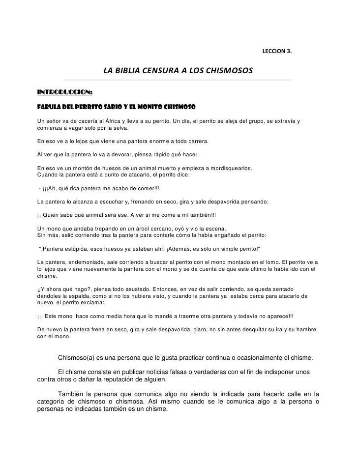 LECCION 3.<br />LA BIBLIA CENSURA A LOS CHISMOSOS<br />INTRODUCCION:<br />FABULA DEL PERRITO SABIO Y EL MONITO CHISMOSO<br...