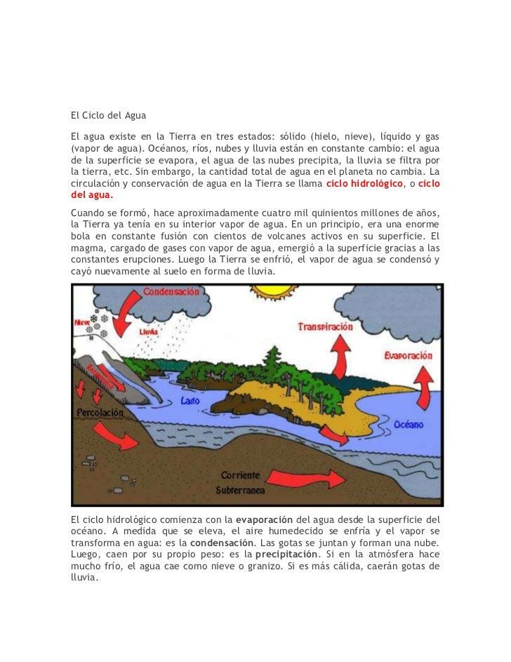 El Ciclo del AguaEl agua existe en la Tierra en tres estados: sólido (hielo, nieve), líquido y gas(vapor de agua). Océanos...