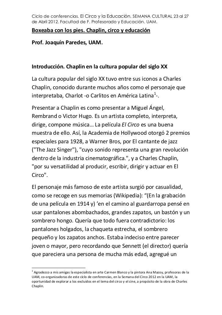 Ciclo de conferencias. El Circo y la Educación. SEMANA CULTURAL 23 al 27de Abril 2012. Facultad de F. Profesorado y Educac...