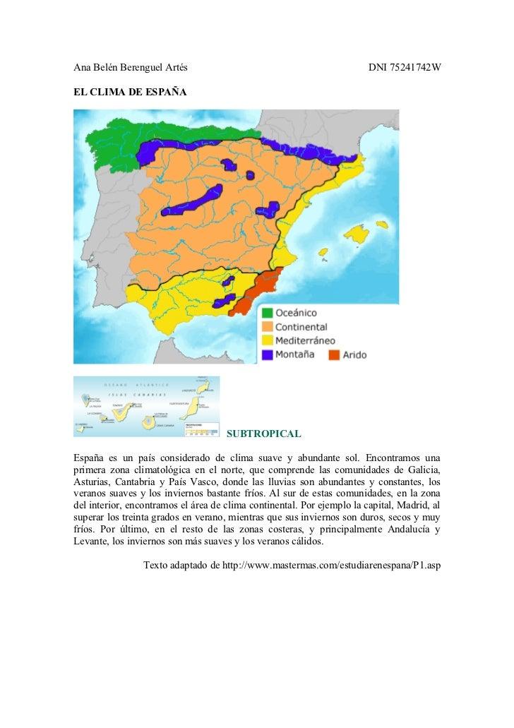 Ana Belén Berenguel Artés                                               DNI 75241742WEL CLIMA DE ESPAÑA                   ...