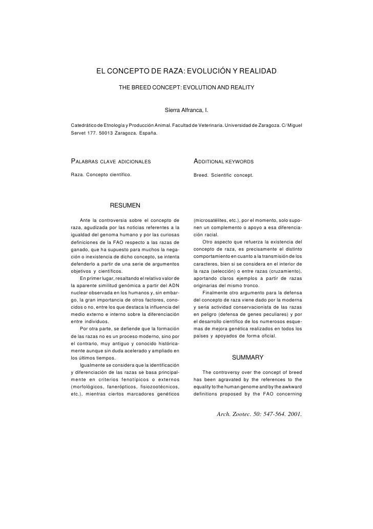 EL CONCEPTO DE RAZA: EVOLUCIÓN Y REALIDAD                        THE BREED CONCEPT: EVOLUTION AND REALITY                 ...
