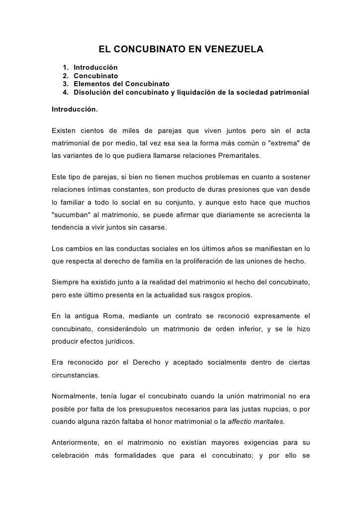 Matrimonio Y Concubinato : El concubinato en venezuela