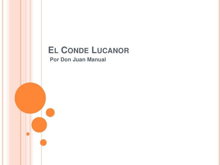 El CondeLucanor<br />PorDon Juan Manual<br />