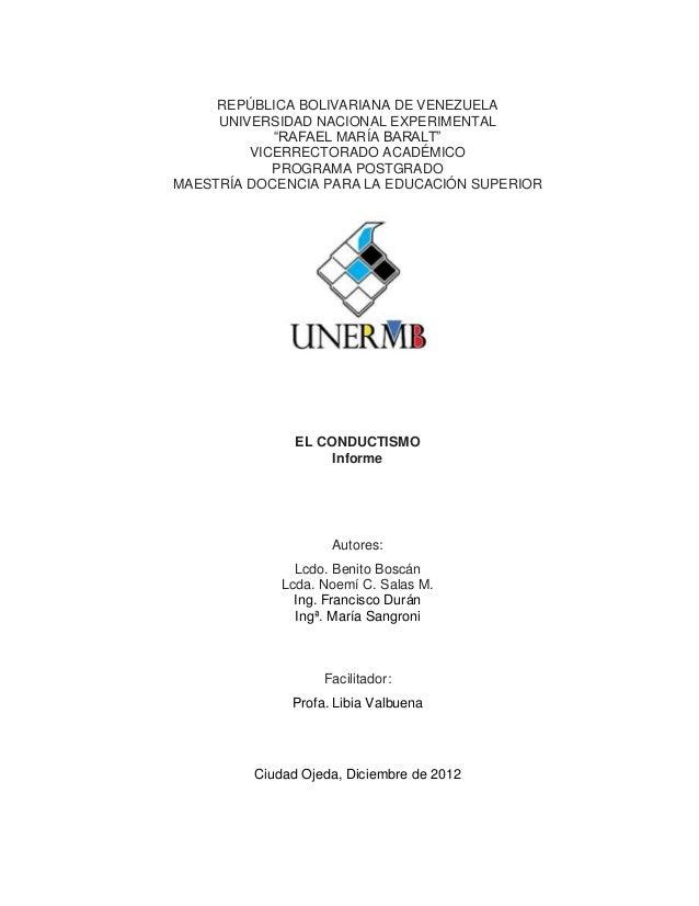 "REPÚBLICA BOLIVARIANA DE VENEZUELA     UNIVERSIDAD NACIONAL EXPERIMENTAL            ""RAFAEL MARÍA BARALT""         VICERREC..."