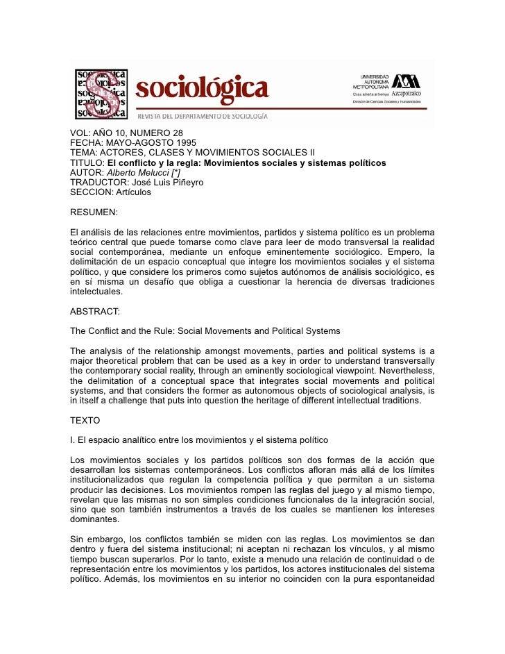 Movimientos sociales y sistemas politicos - Melucci