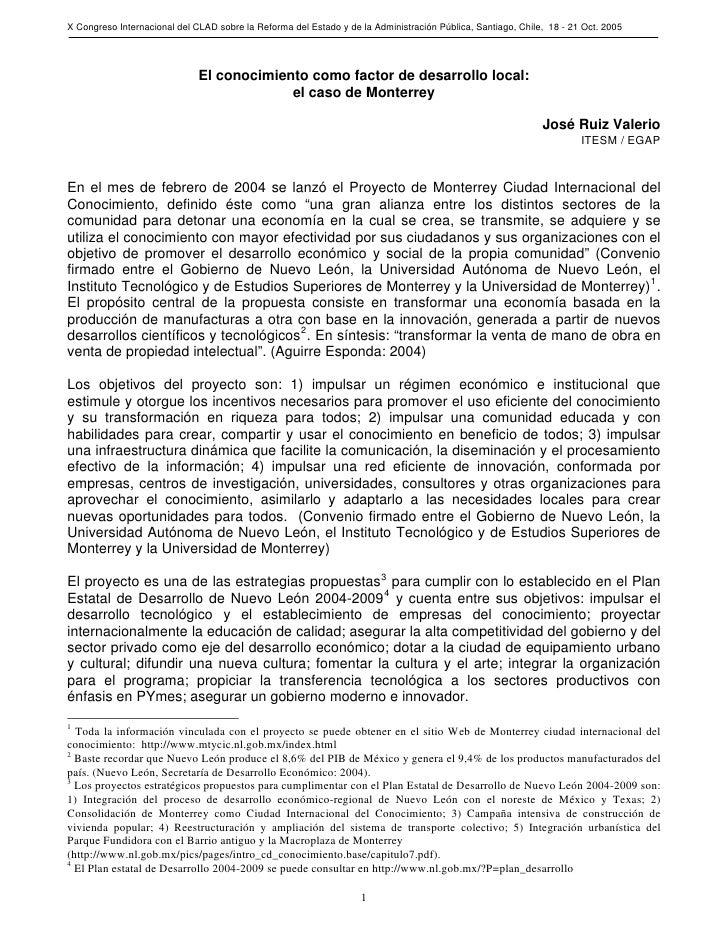 X Congreso Internacional del CLAD sobre la Reforma del Estado y de la Administración Pública, Santiago, Chile, 18 - 21 Oct...
