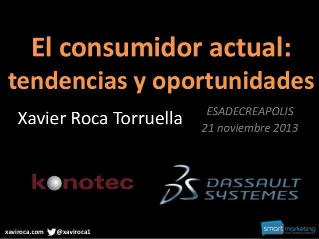 El consumidor actual: tendencias y oportunidades Xavier Roca Torruella  xaviroca.com  @xaviroca1  ESADECREAPOLIS 21 noviem...