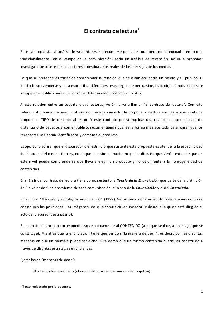 El contrato de lectura1En esta propuesta, al análisis le va a interesar preguntarse por la lectura, pero no se encuadra en...