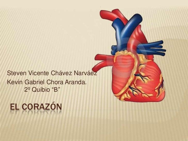 """Steven Vicente Chávez NarváezKevin Gabriel Chora Aranda.      2º Quibio """"B""""EL CORAZÓN"""
