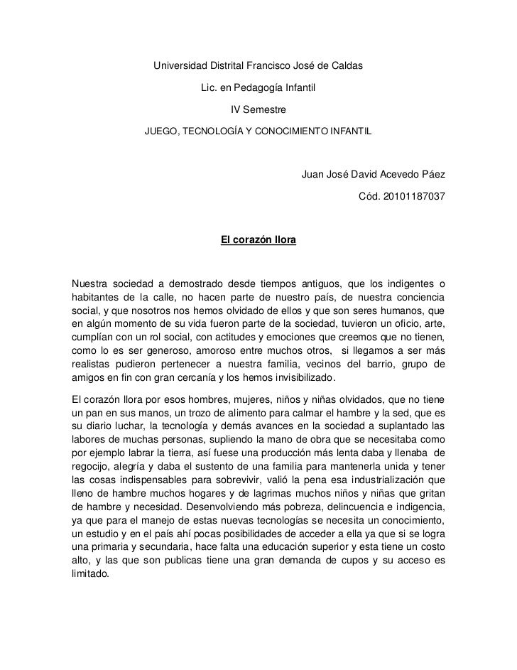 Universidad Distrital Francisco José de Caldas                             Lic. en Pedagogía Infantil                     ...