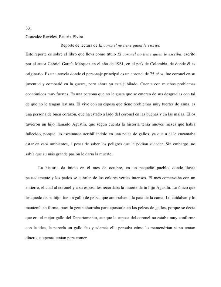 331Gonzalez Reveles, Beatriz Elvira                    Reporte de lectura de El coronel no tiene quien le escribaEste repo...