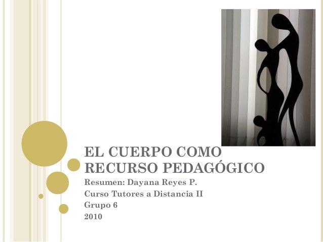 EL CUERPO COMO RECURSO PEDAGÓGICO Resumen: Dayana Reyes P. Curso Tutores a Distancia II Grupo 6 2010