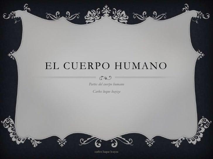 EL CUERPO HUMANO     Partes del cuerpo humano       Carlos luque loayza        carlos luque loayza