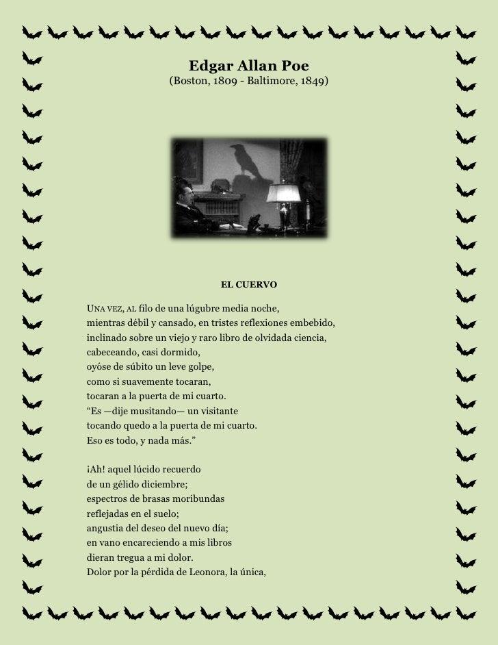 Edgar Allan Poe(Boston, 1809 - Baltimore, 1849)<br />el cuervo<br />Una vez, al filo de una lúgubre media noche,mientras d...