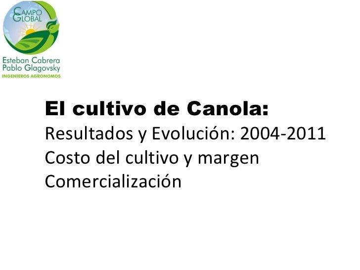 El cultivo de Canola:Resultados y Evolución: 2004-2011Costo del cultivo y margenComercialización