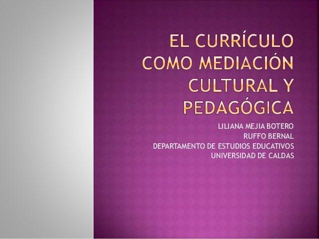 LILIANA MEJIA BOTERO  RUFFO BERNAL  DEPARTAMENTO DE ESTUDIOS EDUCATIVOS  UNIVERSIDAD DE CALDAS
