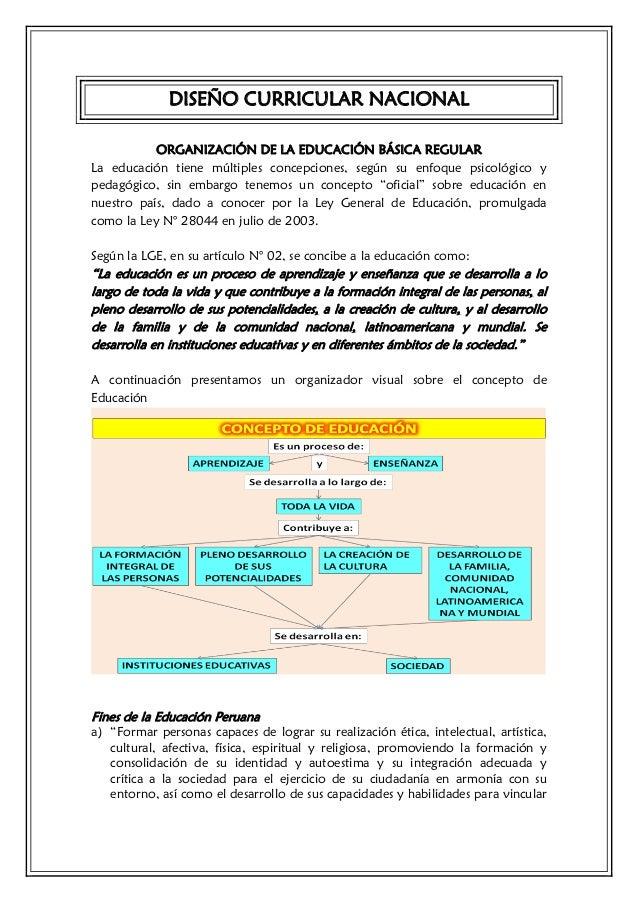 DISEÑO CURRICULAR NACIONAL           ORGANIZACIÓN DE LA EDUCACIÓN BÁSICA REGULARLa educación tiene múltiples concepciones,...