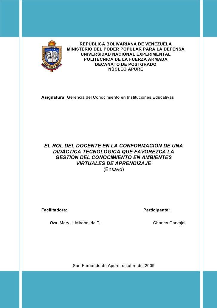 REPÚBLICA BOLIVARIANA DE VENEZUELA             MINISTERIO DEL PODER POPULAR PARA LA DEFENSA                   UNIVERSIDAD ...