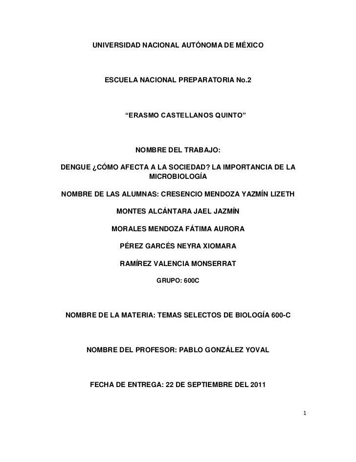 """UNIVERSIDAD NACIONAL AUTÓNOMA DE MÉXICO          ESCUELA NACIONAL PREPARATORIA No.2               """"ERASMO CASTELLANOS QUIN..."""