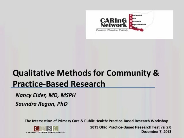 Qualitative Methods for Community & Practice-Based Research Nancy Elder, MD, MSPH Saundra Regan, PhD The Intersection of P...