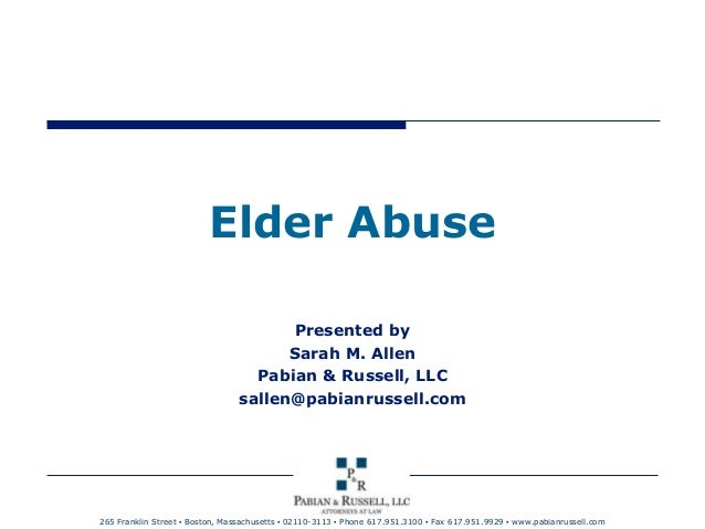 Elder Abuse: What the signs are and what can be done?