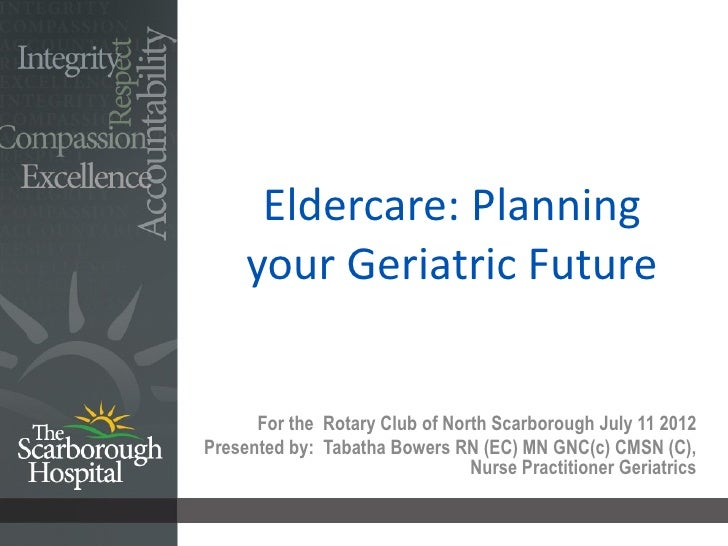 Eldercare: Planning Your Geriatric Future