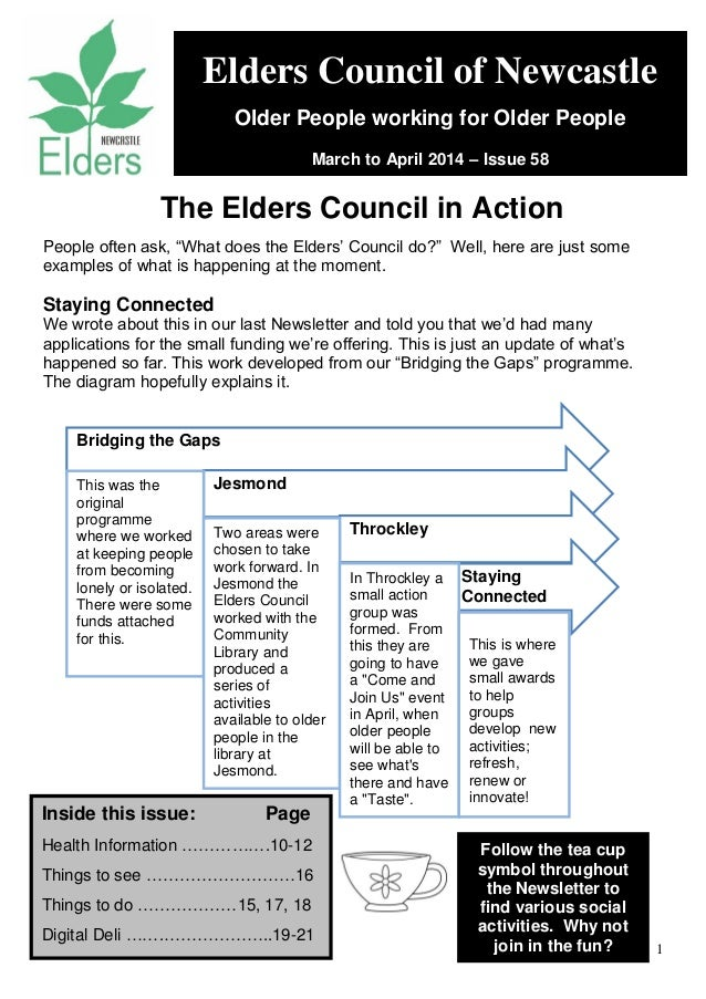 "1 People often ask, ""What does the Elders' Council do?"" Well, here are just some examples of what is happening at the mome..."