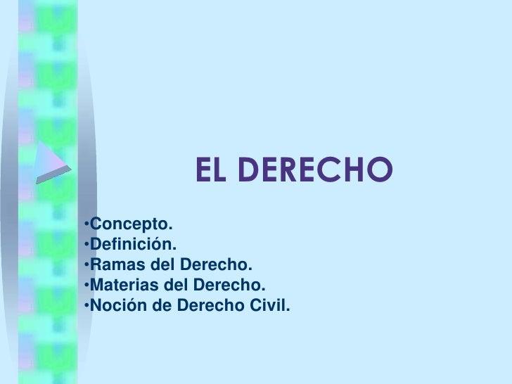 EL DERECHO<br /><ul><li>Concepto.