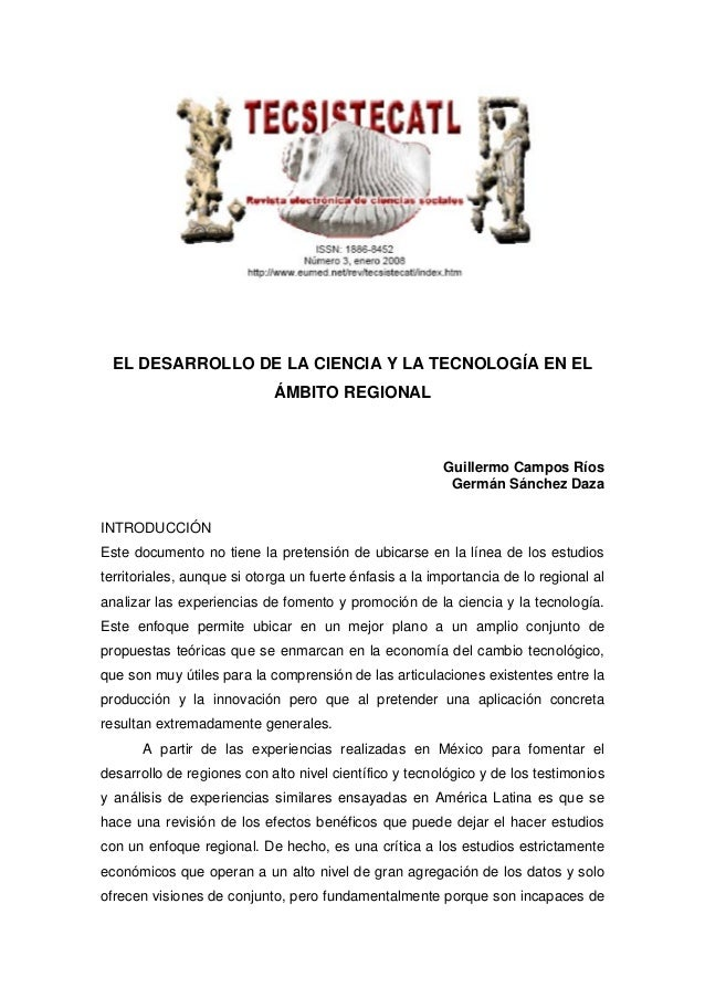 El desarrollo de la ciencia y la técnología en el ámbito regional