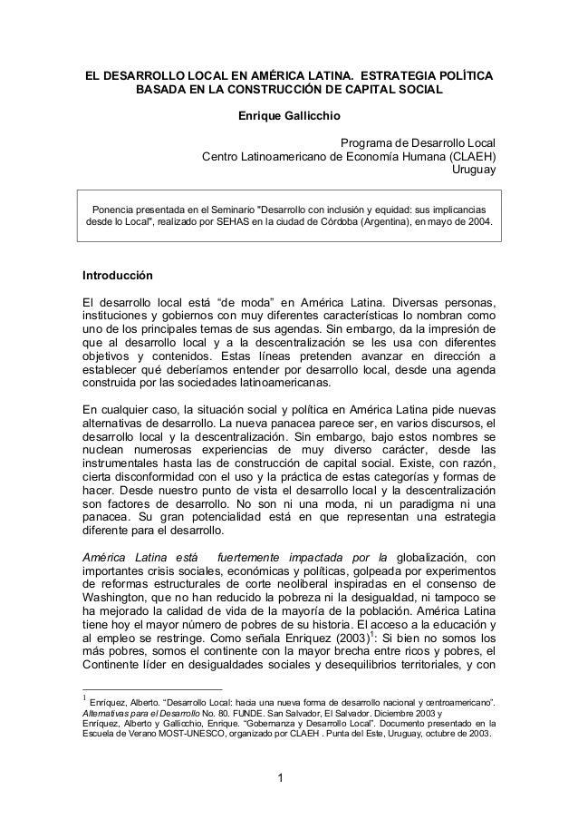 El desarrollo local en ámerica latina. estrategía política basada en la construcción del capital social