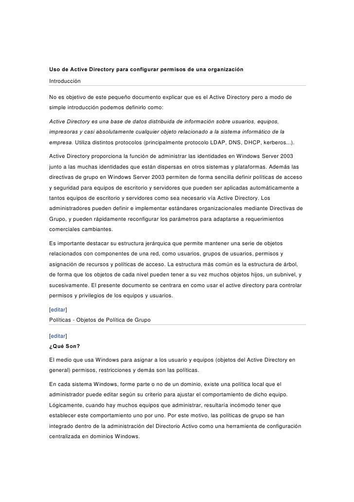 8VR GH $FWLYH 'LUHFWRU SDUD FRQILJXUDU SHUPLVRV GH XQD RUJDQL]DFLyQ Introducción  No es objetivo de este pequeño documento...