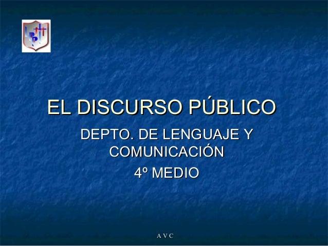 A V CA V C EL DISCURSO PÚBLICOEL DISCURSO PÚBLICO DEPTO. DE LENGUAJE YDEPTO. DE LENGUAJE Y COMUNICACIÓNCOMUNICACIÓN 4º MED...
