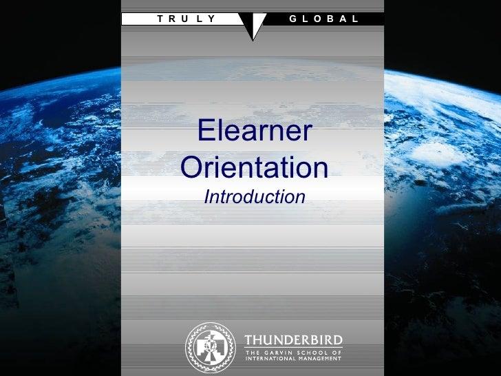 Elearner Orientation Introduction