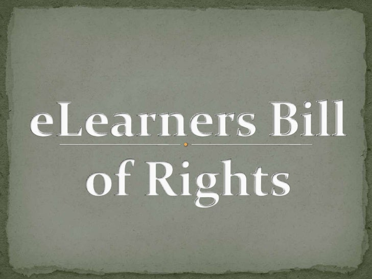 E learners bill of rights