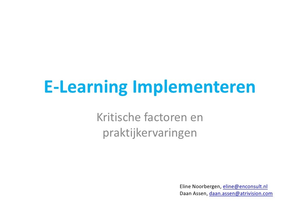 E Learning Implementeren
