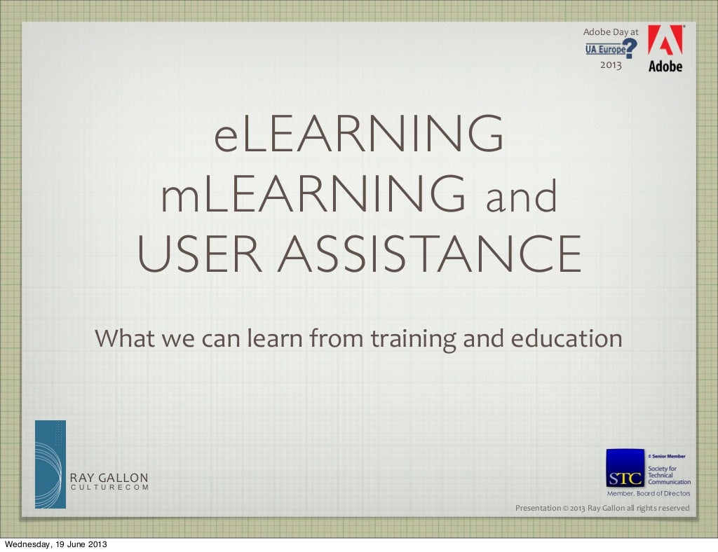 eLearning mLearning and User Assistance
